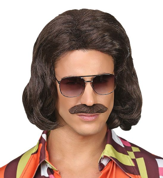 BROWN 70s DANDY WIG & MOUSTACHE The 70s - Disco Fever Fancy Dress